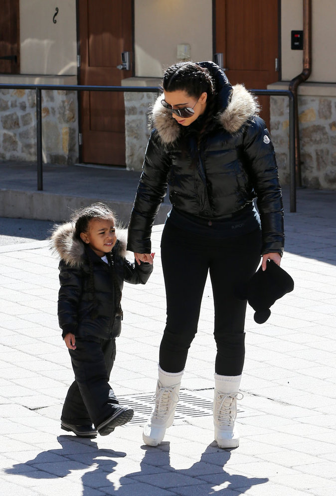 Kim Kardashian et North en vacances à Vail (Colorado), le 7 avril 2016