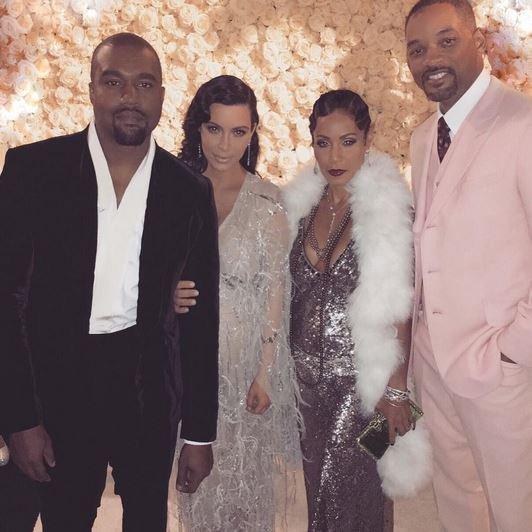 Kim Kardashian Kanye West et le couple Jada et Will Smith