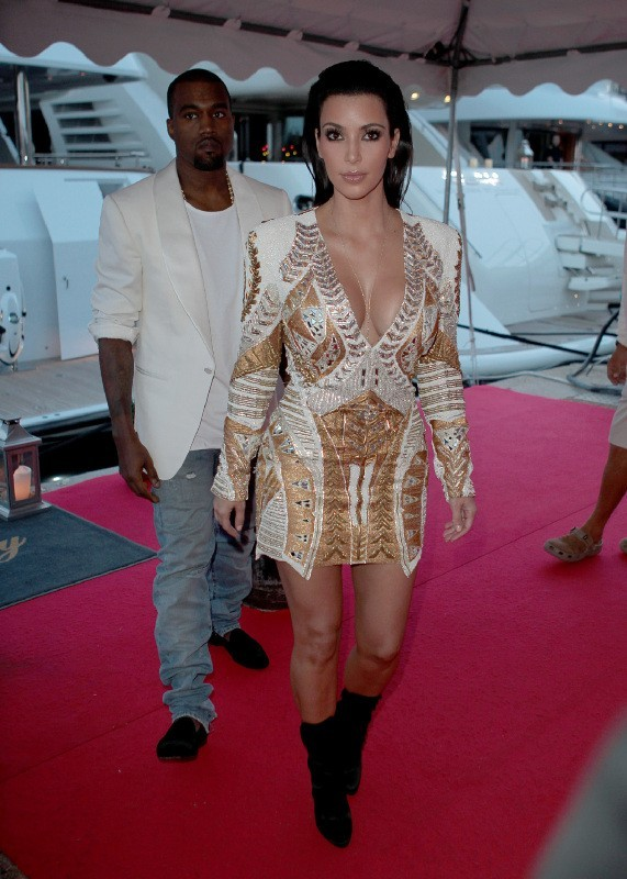 Kim Kardashian et Kanye West à Cannes, le 23 mai 2012.