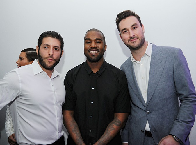 Marc Lotenberg, Kanye West et Justin Hyde à Miami le 4 décembre 2013