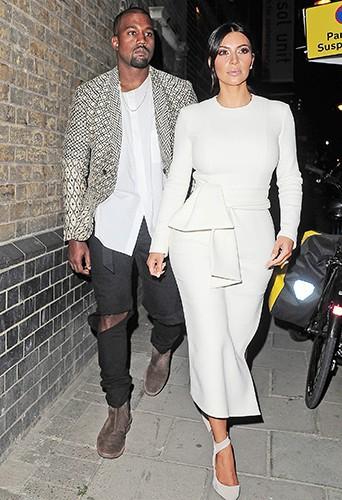 Kim Kardashian et Kanye West à Londres le 23 septembre 2014