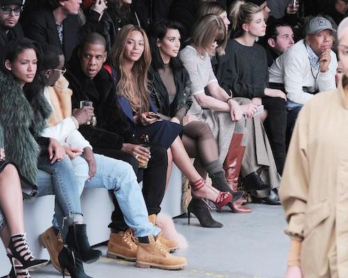 Cassie, P.Diddy, Jay-Z, Beyoncé, Kim Kardahsian au défilé Kanye West x Adidas le 12 février 2015