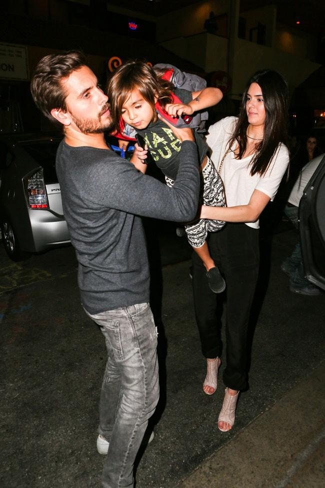 Scott Disick, Mason et Kendall Jenner à Los Angeles le 15 mars 2014