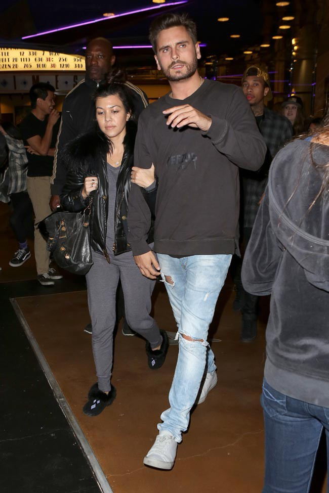 Kourtney Kardashian et Scott Disick à Calabasas le 21 décembre 2013