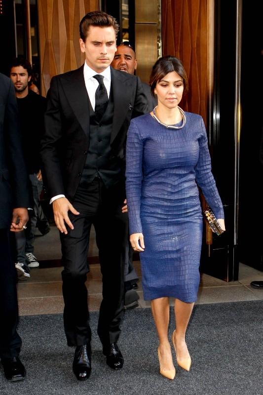 "Kourtney Kardashian et Scott Disick se rendant à la soirée ""E! 2013 Upfront"" à New York, le 22 avril 2013."