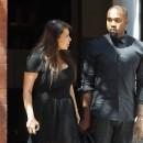 Kim Kardashian et Kanye West à la sortie du Mercer Hotel à New York, le 24 avril 2013.