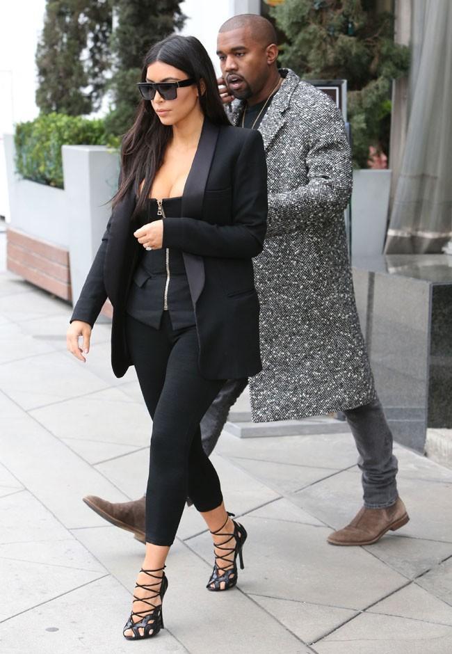 Kim Kardashian et Kanye West à West Hollywood le 20 décembre 2014