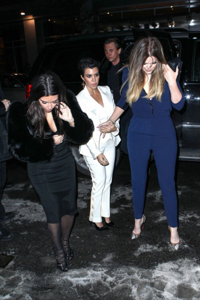 Kim, Kourtney et Khloe Kardashian à New York, le 16 février 2014.