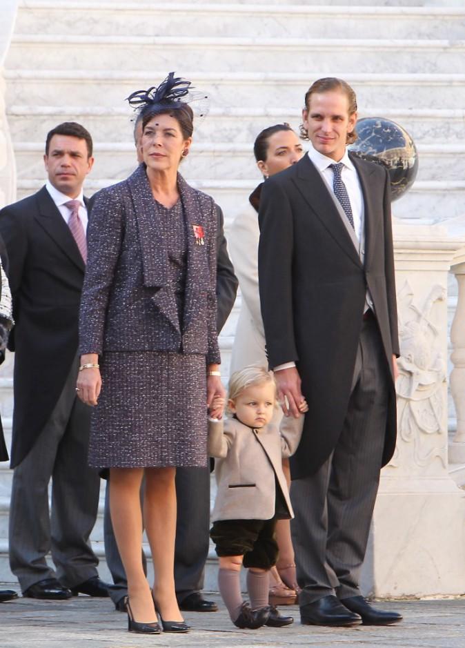 Caroline de Monaco, Andrea Casiraghi et Sacha Casiraghi le 19 novembre 2014