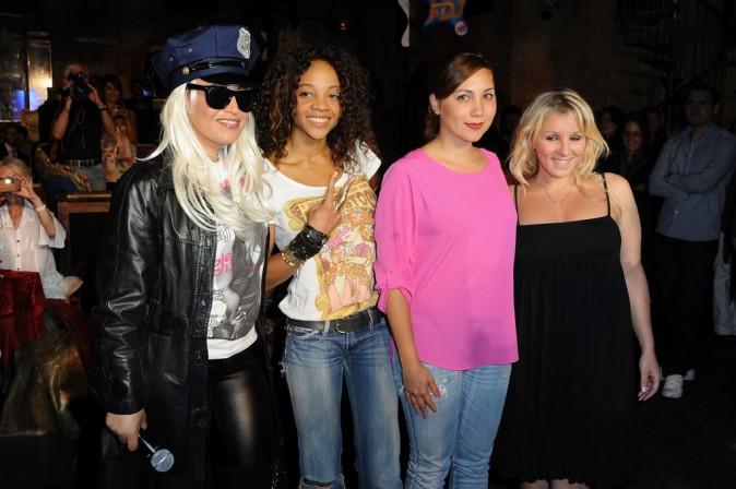 Laam, Louisy Joseph, Leslie, Myriam Abel lors de la soirée de lancement de la tournée Française des Jeux-NRJ 12, le 16 juin 2011 à Paris.