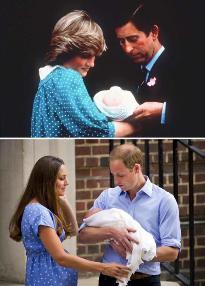 Comparatif entre la princesse Diana et le prince Charles, et Kate Middleton et le prince William à la sortie de la maternité...