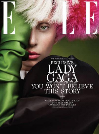 Lady Gaga en couverture du magazine ELLE US du mois d'octobre 2013.