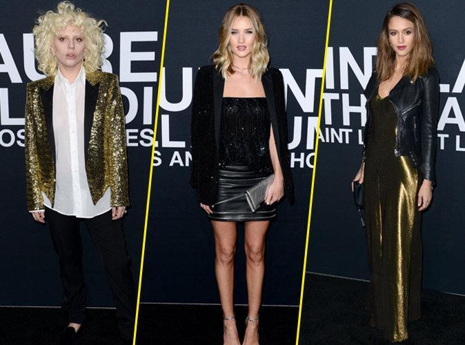 Lady Gaga, Rosie Huntington-Whiteley et Jessica Alba : les stars du défilé YSL