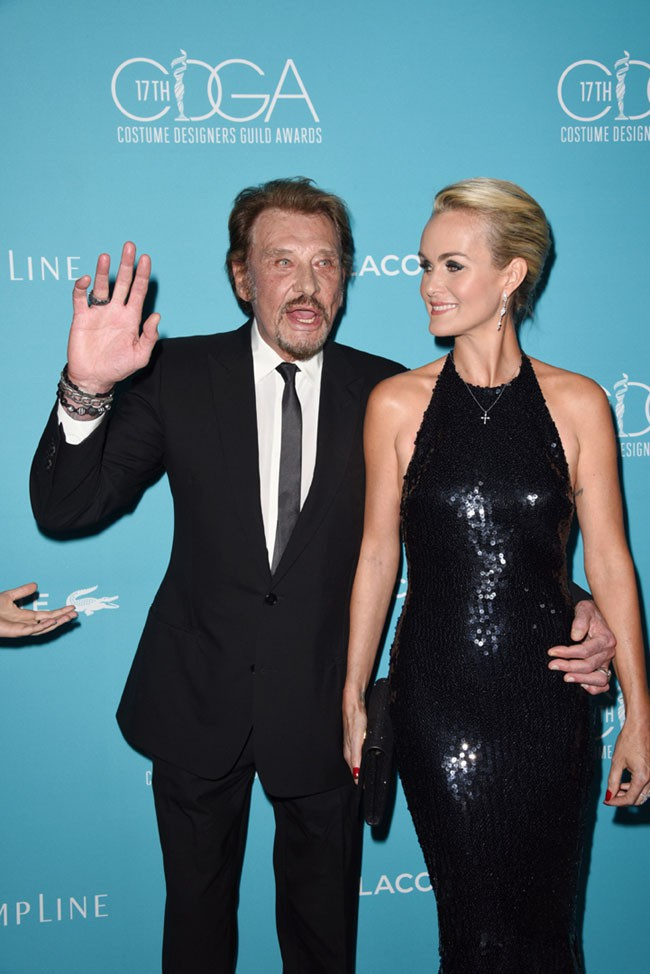 Laeticia et Johnny Hallyday à Beverly Hills le 17 février 2015