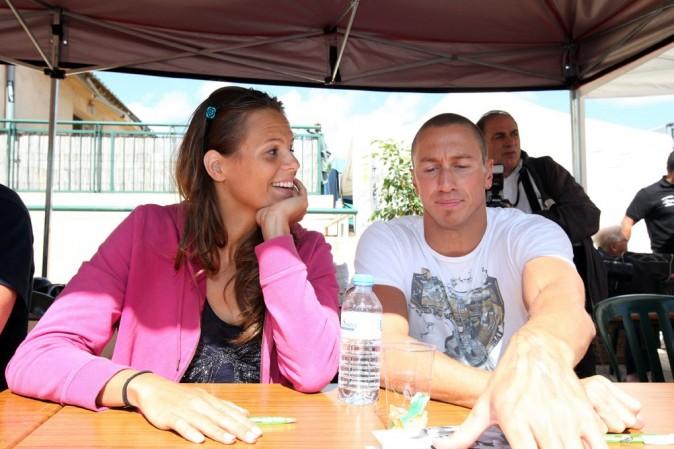 Avec son chéri et le père de sa petite Manon, Frédérick Bousquet !