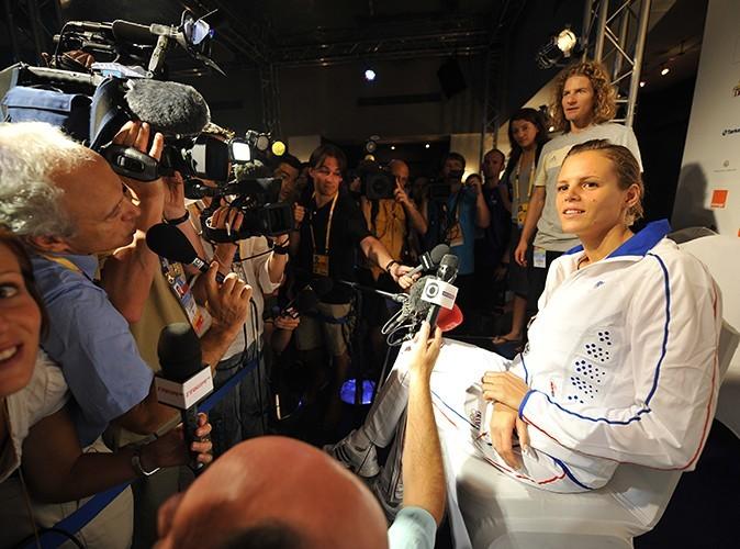 Conférence de presse après son échec aux JO de Pékin en 2008.