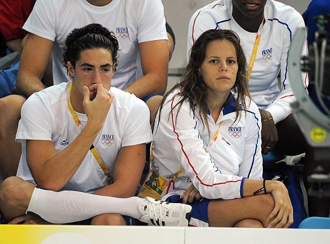 Laure Manaudou aux JO de Pékin en 2008, en compagnie de Benjamin Stasiulius, son petit ami de l'époque.