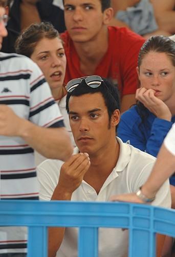 Luca Marin soutient Laure aux championnats à Saint Raphaël en 2007