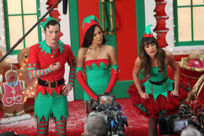 Chris Colfer, Naya Rivera et Lea Michele sur le tournage de Glee à Los Angeles le 7 novembre 2013
