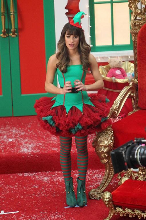 Lea Michele sur le tournage de Glee à Los Angeles le 7 novembre 2013