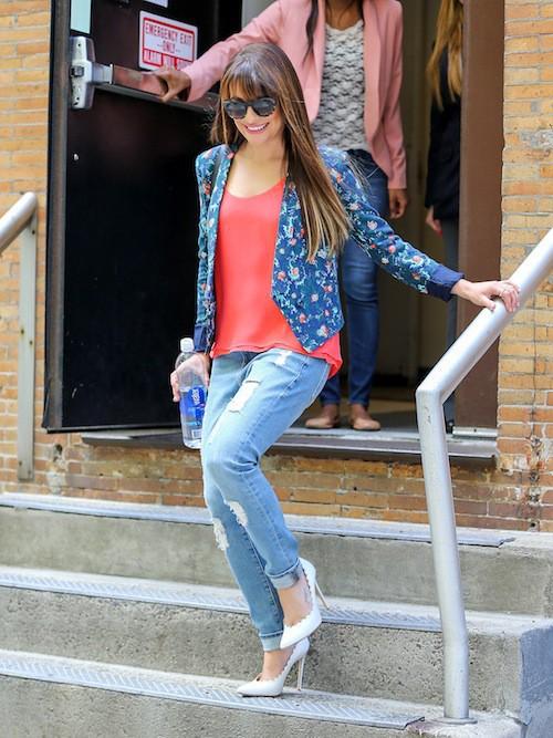 Photos : Lea Michele : deux looks fleuris et pops pour une sortie avec le smile !