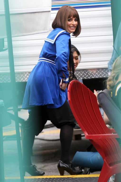 Lea Michele sur le tournage de Glee à Los Angeles le 10 avril 2014