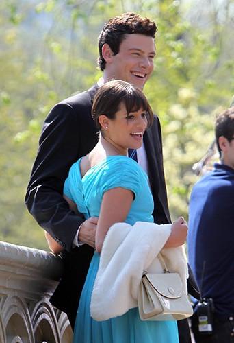 Rapprochement entre Cory et Lea sur le tournage de Glee en avril 2011