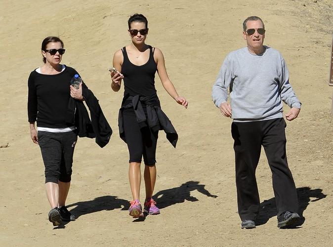 Lea Michele et ses parents à Los Angeles le 3 février 2014