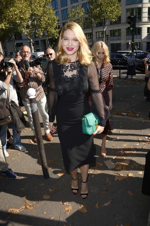 Léa Seydoux au défilé Miu Miu printemps-été 2015 à Paris, le 1er octobre 2014