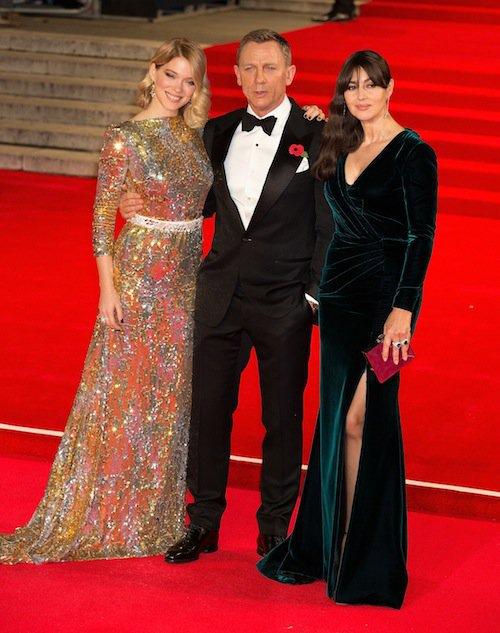 Léa Seydoux, Monica Bellucci et Daniel Craig à la première de Spectre à Londres, le 26 octobre 2015