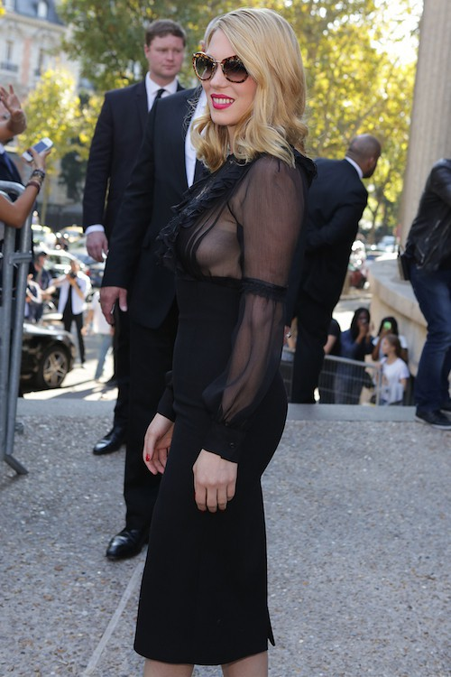 Léa Seydoux à Paris pour le défilé Miu Miu printemps-été 2015, en septembre 2014