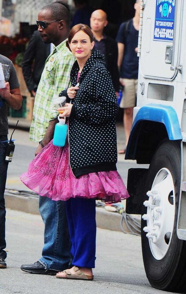 Leighton Meester sur le tournage de Gossip Girl à New-York le 31 juillet 2012
