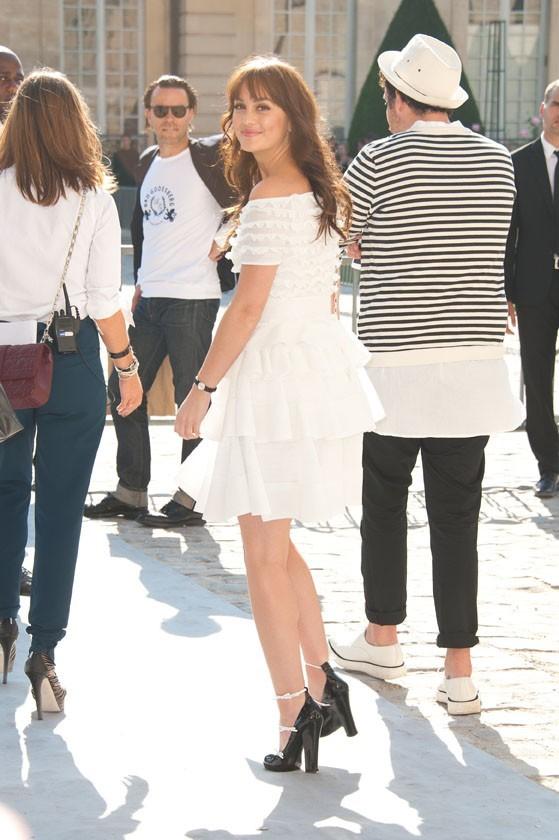 Leighton Meester lors du défilé Dior à Paris, le 30 septembre 2011.