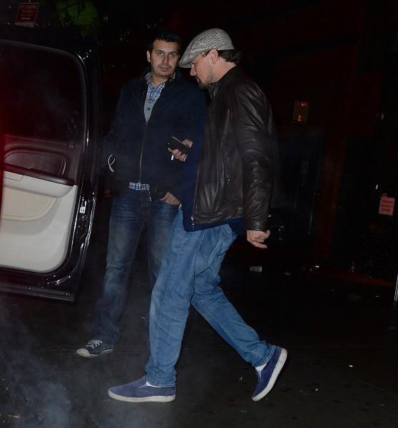 Leonardo DiCaprio à la sortie du Club Avenue, le 3 février 2014 au matin à New York.