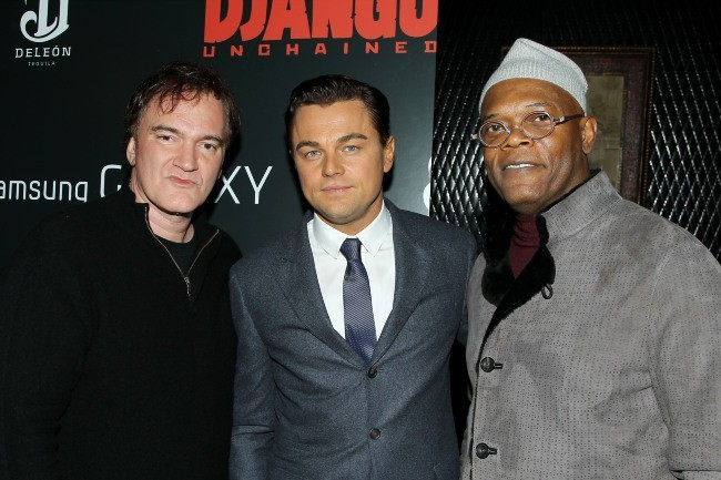 Leonardo DiCaprio, Quentin Tarantino et Samuel L. Jackson le 11 décembre 2012 à New York