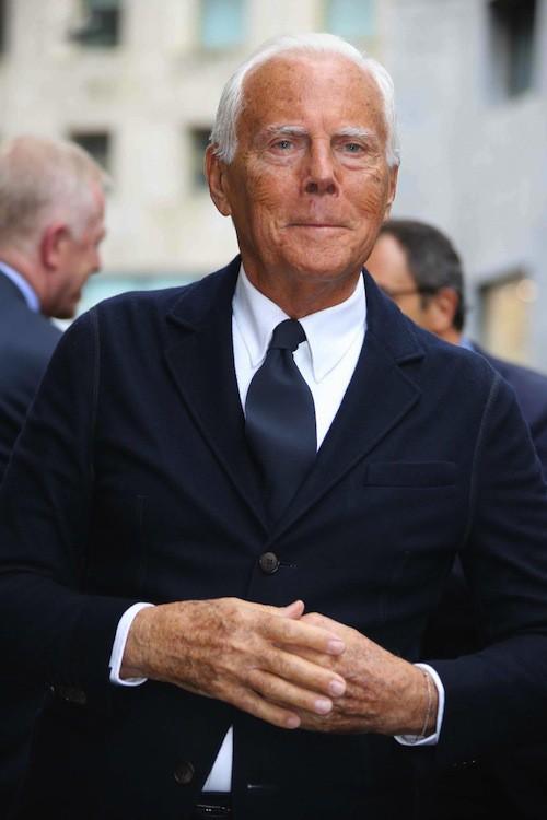 Giorgio Armani aux 40 ans de la marque Armani, à Milan le 30 avril 2015