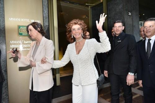 Sophia Loren aux 40 ans de la marque Armani, à Milan le 30 avril 2015