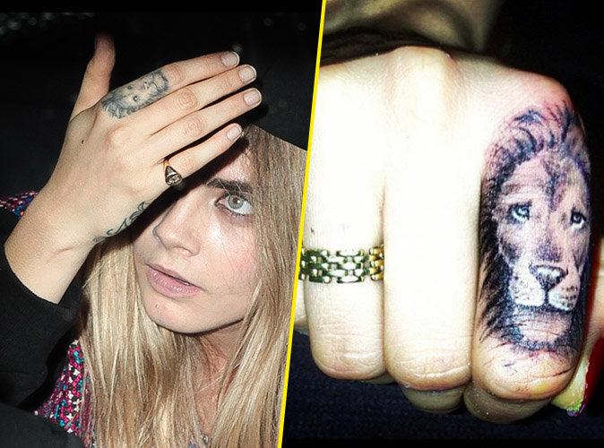 Le lion sur l'index de Cara Delevingne