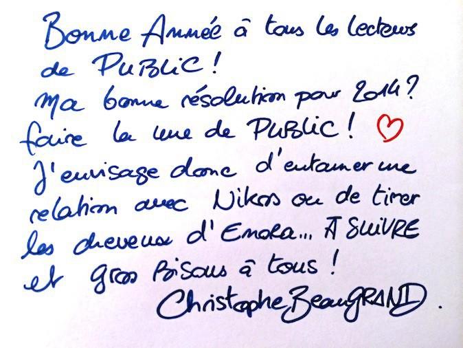Christophe Beaugrand souhaite une bonne année 2014 à Public !