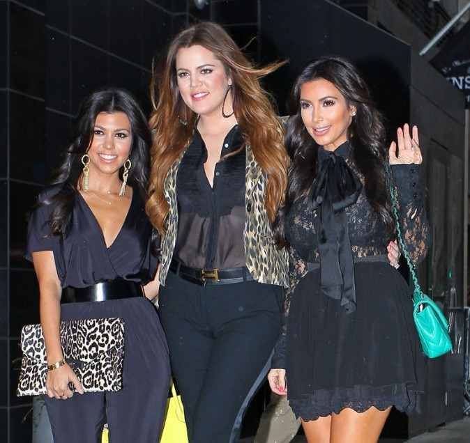 Kim, Kourtney et Khloe Kardashian à New York, le 6 septembre 2011.