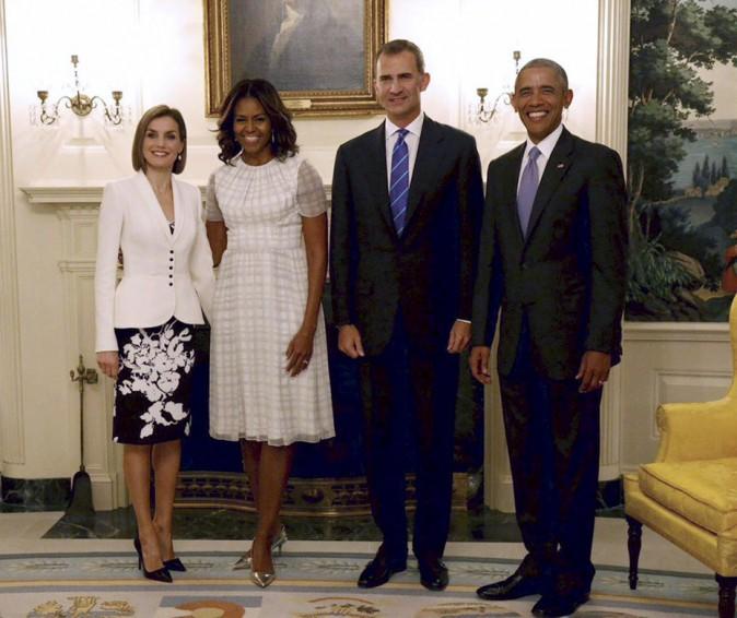 Letizia et Felipe d'Espagne rencontrent les Obama à la Maison Blanche
