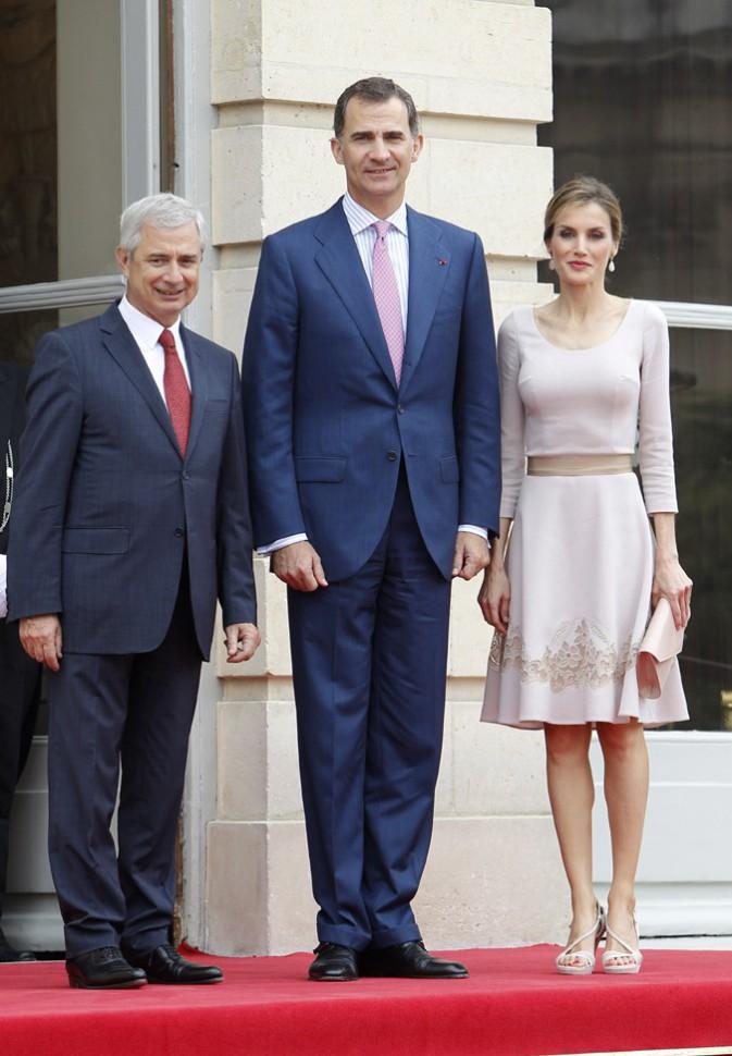 Letizia et Felipe d'Espagne lors de leur visite à l'Assemblée Nationale le 22 juillet 2014