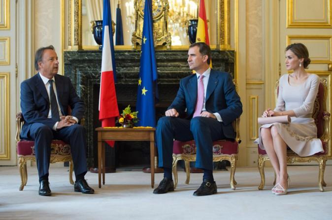 Letizia et Felipe d'Espagne lors de leur visite du Sénat le 22 juillet 2014