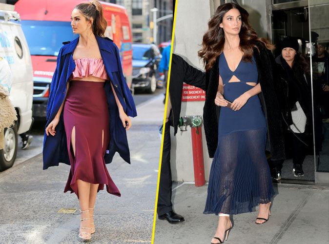 Lily Aldridge : look tricolore et robe transparente en promotion pour Victoria's Secret