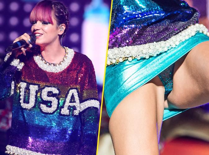 Lily Allen : en tournée avec Miley Cyrus, elle fait dans les paillettes... Jusqu'à la petite culotte !