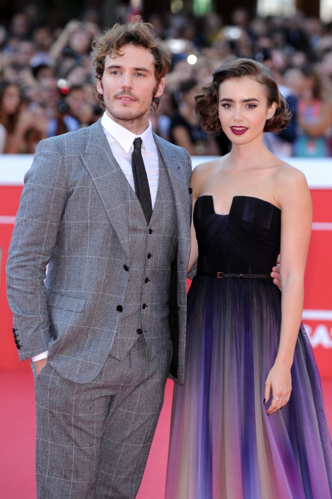 Lily Collins et Sam Claflin, lors du Festival du Film de Rome, le 19 octobre 2014.