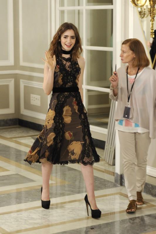 """Lily Collins en promo pour le film """"The Mortal Instruments : La Cité des ténèbres"""" à Madrid, le 22 août 2013."""