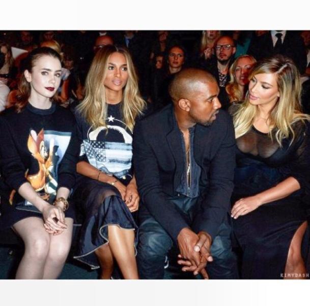 Lily Collins aux côtés de Ciara, Kanye West et Kim Kardashian à Paris le 29 septembre 2013