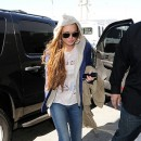 Lindsay Lohan à l'aéroport de Los Angeles le 18 avril 2013