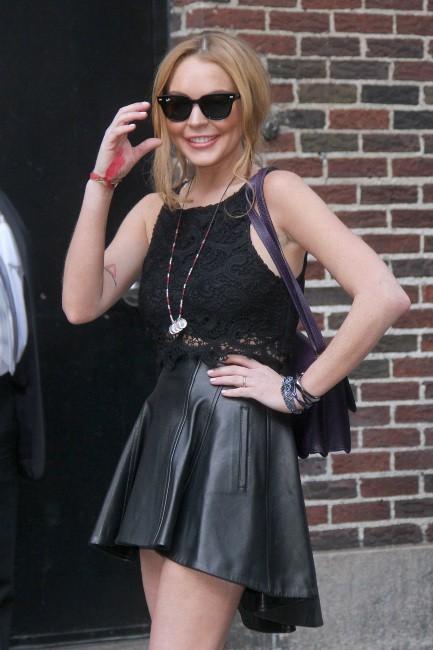 Lindsay Lohan après son passage sur le plateau de l'émission The Late Show with David Letterman à New York, le 9 avril 2013.